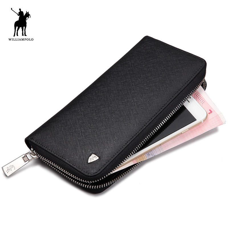WILLIAMPOLO High Quality Corss Pattern Mens Long Wallet Genuine Leather Travel Wallet Men Clutches PL119