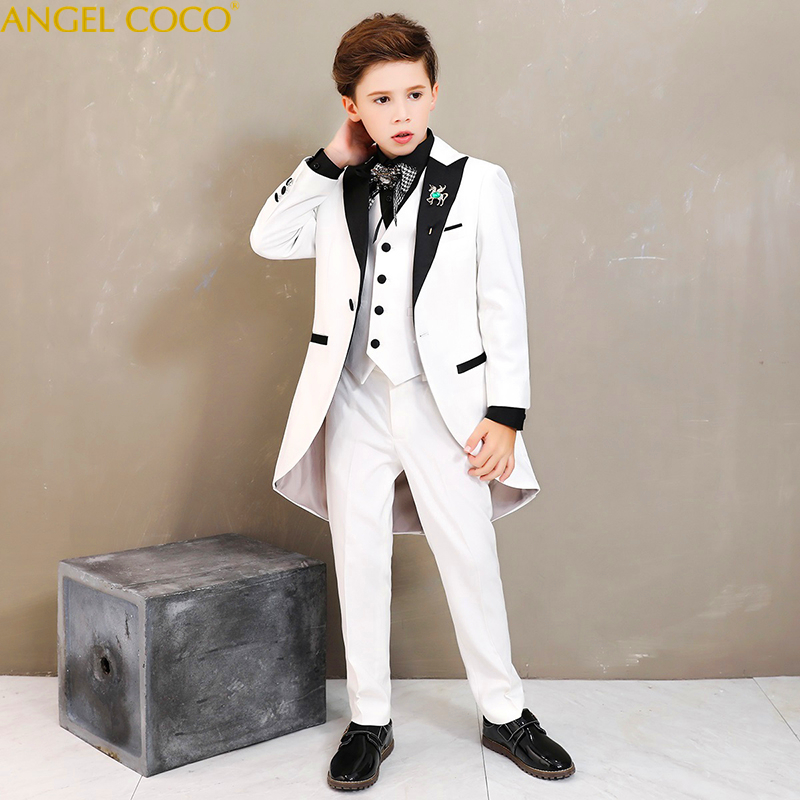 Boys Tuxedo 2018 New 6PCS Kids Plaid Wedding Blazer Suit Brand Flower Boys Formal Tuxedos School Suit Kids Spring Clothing Set