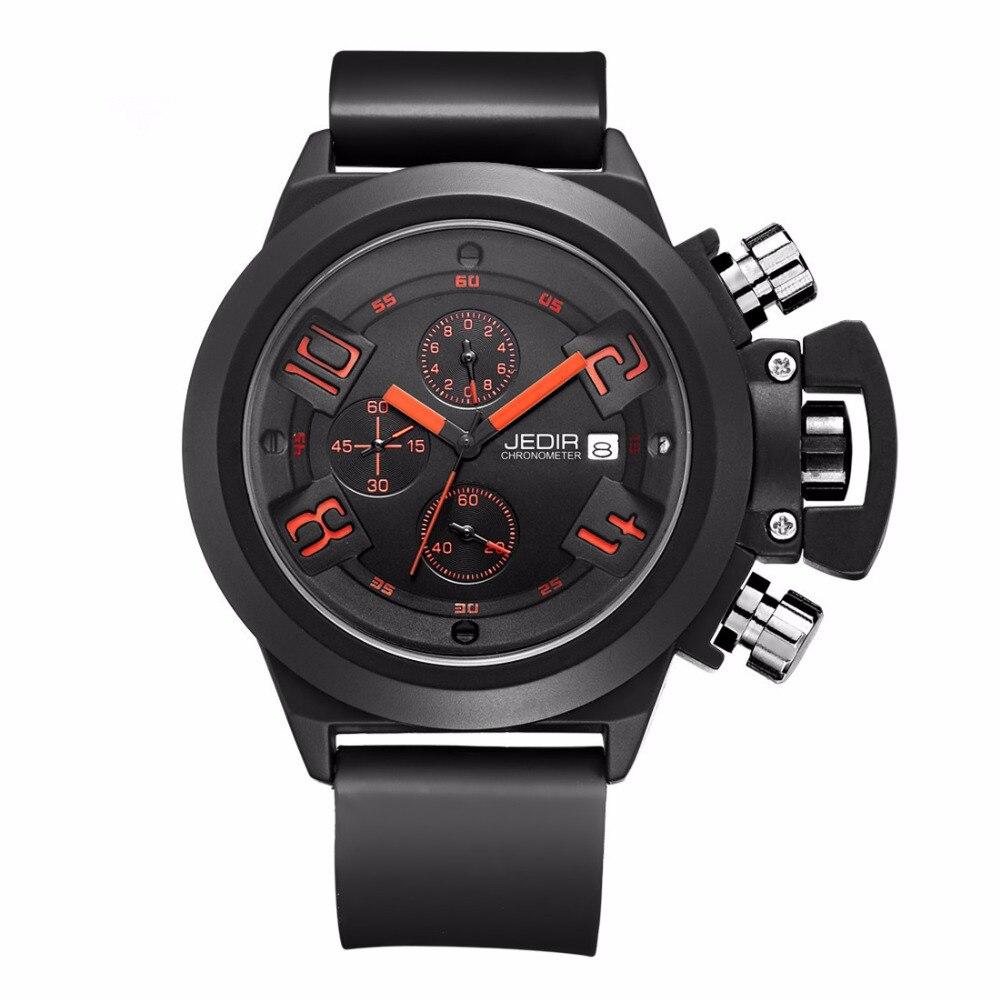 Prix pour Montre Homme JEDIR 2002 CHRONOGRAPHE 24 Heures Fonction Hommes de Sport Montres Hommes Silicone Montres Horloge homme MEGIR Reloj Hombre