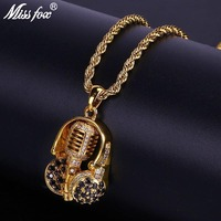 MISSFOX Hip Hop The Voice Of Black Headset And Pure Microphone Men Charm Pendant AAA Cubic Zirconia With Gold Necklace Chain