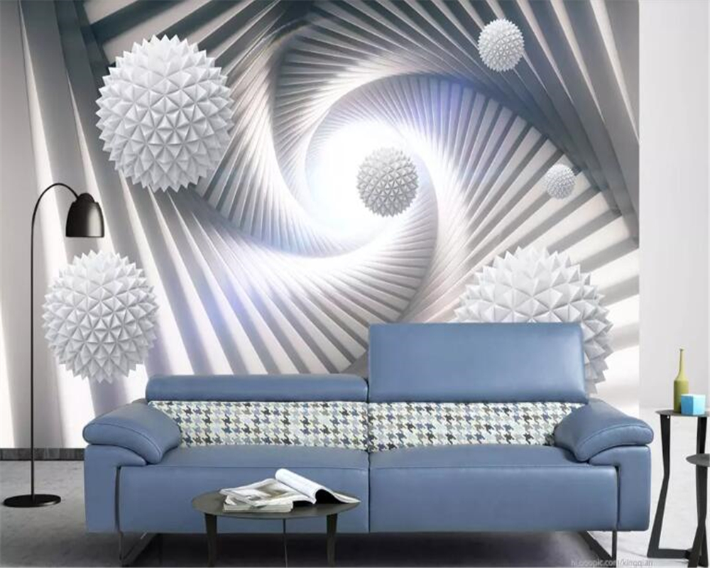 beibehang Modern classic three-dimensional wall paper abstract space polyhedral sphere background 3d wallpaper