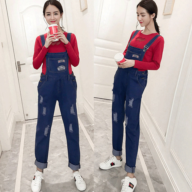 34fe882e1a30e Spring Autumn Pregnancy Jumpsuit Fashion Plus Size Loose Jeans for Pregnant  Women Casual Hole Maternity Denim Overalls Playsuits