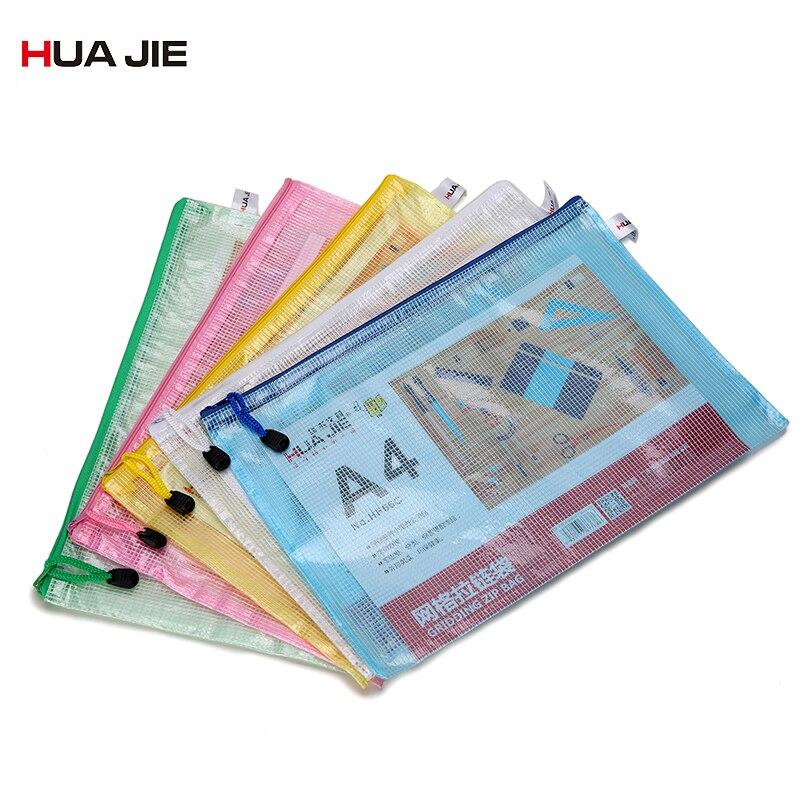 Transparent A4 Document Bag File Bag 12pcs Mesh Zipper Bag Paper Bag File Folder Filing Product Student Office Supplies Hf66c