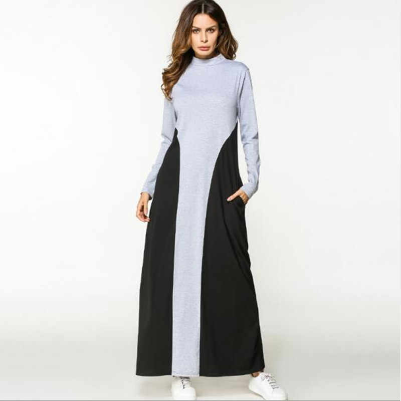 238bb9f5e55 Мусульманское длинное платье хлопок Абаи в стиле пэчворк с длинными  рукавами халат платья свободные Moroccan Бурка