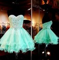 Menta Verde 2017 Vestidos Homecoming A Linha Querida Organza Cristais Lace Curto Mini Cocktail Dresses