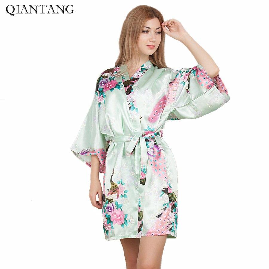 meilleur service 85468 df71c € 7.18 45% de réduction|Grande taille mariée demoiselle d'honneur mariage  Robe Kimono Mini Robe femmes Faux soie courte Robe de bain chemise de nuit  ...