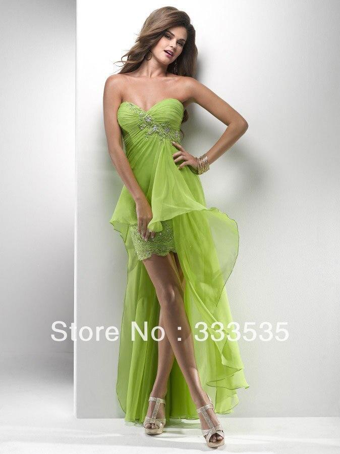 Hi Low Lime Green Cocktail Dress Short Front Long Back Sweetheart ...