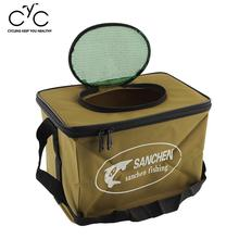New WaterProof Durable Foldable Fabric Portable Canvas square Fish Bucket Tackle Box Water Pail for Fishing Outdoors S Size