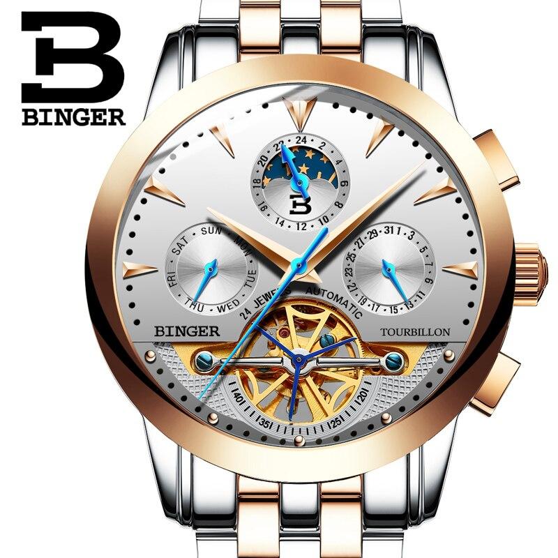 2016 Switzerland luxury men's watche BINGER brand Mechanical Wristwatches Wristwatches sapphire full stainless steel B1188-8