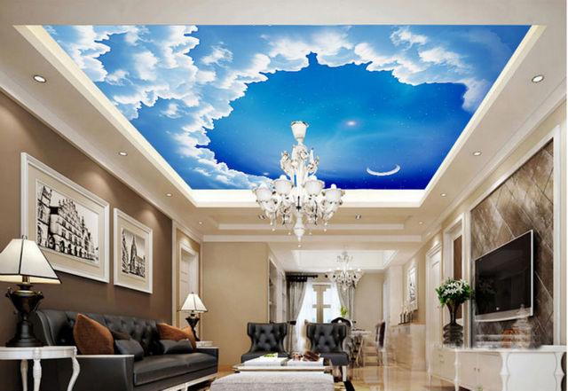 dream living room. Large clouds sky dream moon ceiling living room bedroom wallpaper murals