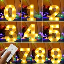 Big Size LED Night Lights Marquee Sign Number & Timer Remote Control Desk Lamp for Party Christmas Wedding Birthday Decoration lumiparty led reindeer night light cordless night table lamp christmas wall marquee sign with 8 led lights for christmas