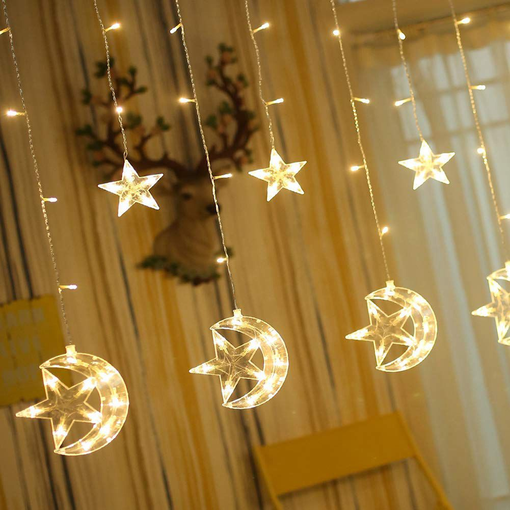 Nice 138 Led Star Moon Curtain String Lights,window Curtain Lights With 8 Flashing Modes Decoration For Wedding,party,home,patio La Selling Well All Over The World Lights & Lighting
