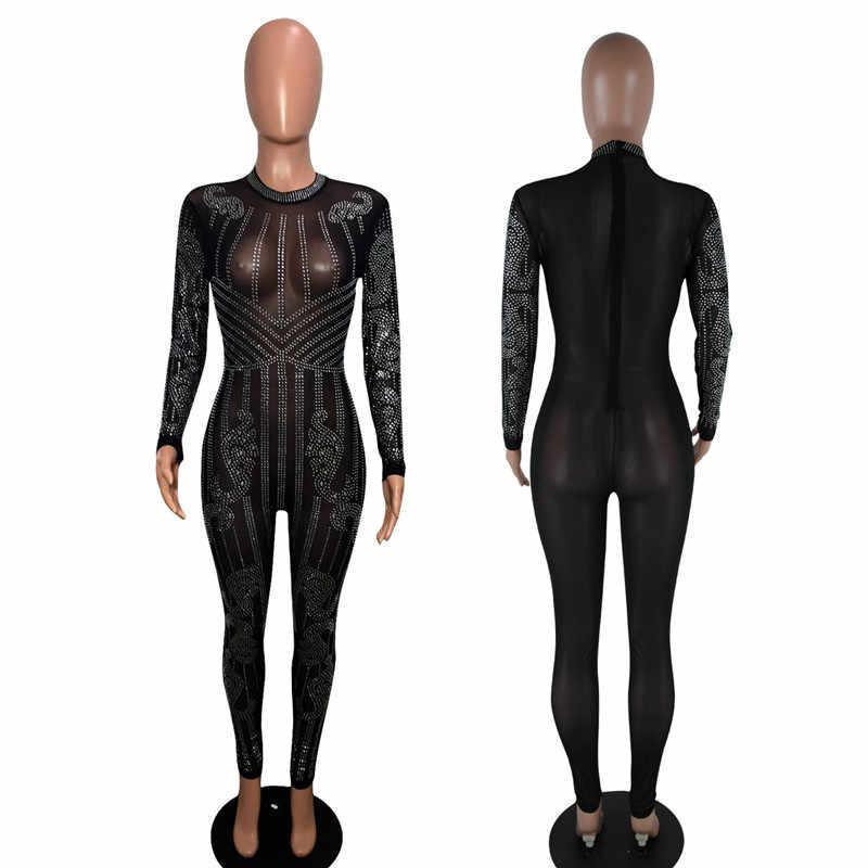 Сексуальный Облегающий комбинезон с длинным рукавом, Модные прозрачные сетчатые геометрические стразы, блестящие Комбинезоны для женщин