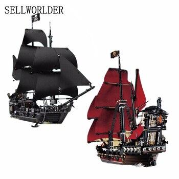 16006 & 16009 Pirates des Caraïbes Le Noir Perle Pirate Modèle de bateau ensemble Blocs de Construction Kits briques Jouets pour Enfants 4195