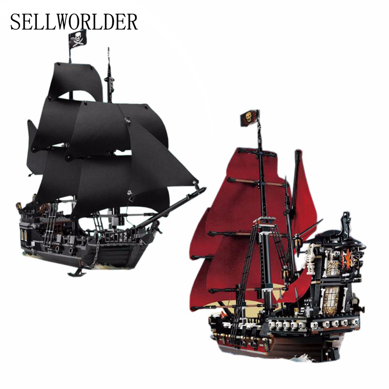 16006 & 16009 Pirates of the Caribbean The Black Pearl Pirate Ship Model set Building Blocks Kits bricks Toys for Children 4195 lepin 16009 caribbean blackbeard queen anne s revenge mini bricks set sale pirates of the building blocks toys for kids gift