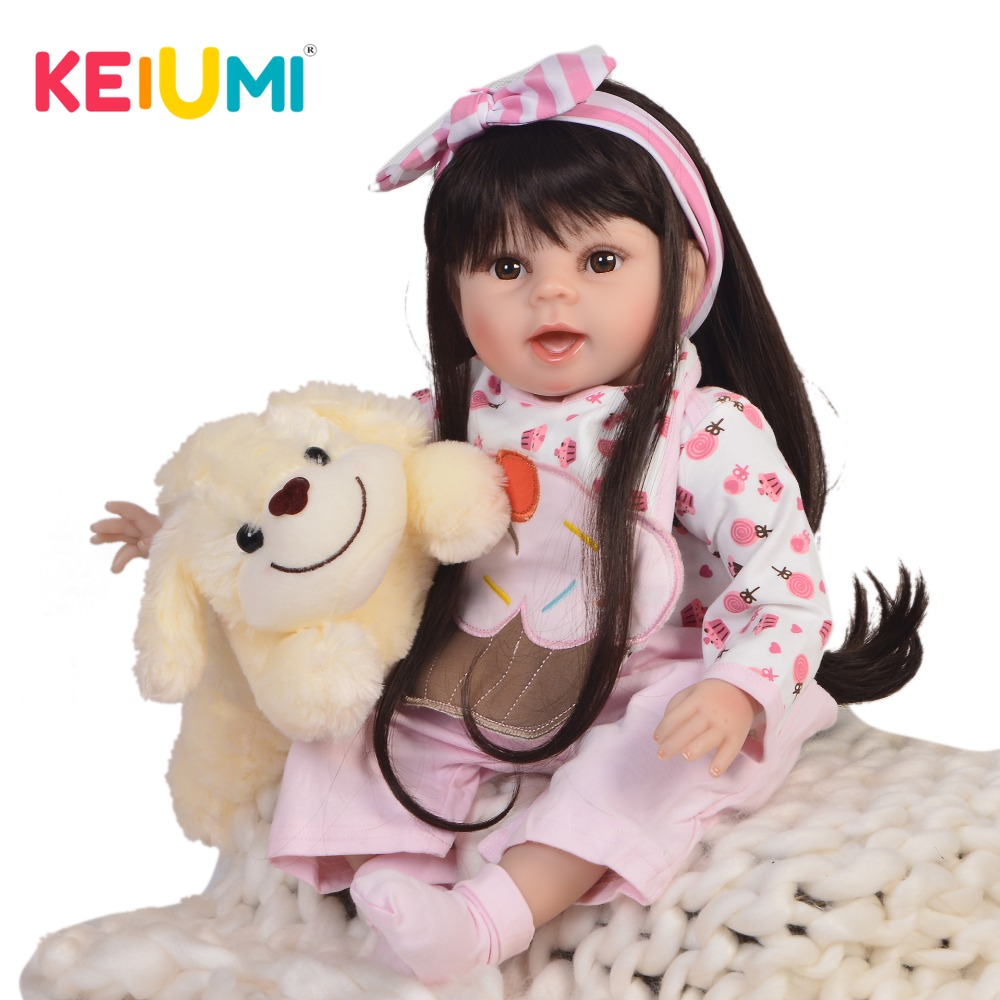 цена KEIUMI 22'' Fashion Lovely Princess Baby Dolls Soft Silicone Vinyl Reborn Baby Girl Doll Toys 55 cm Kids Birthday XMAS Gifts
