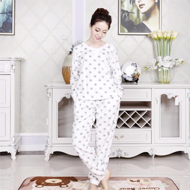 Inverno mulheres pijama quente set estilo simples em torno do pescoço da estrela vermelha roupa interior pijamas terno quente coral pijama pjs pys