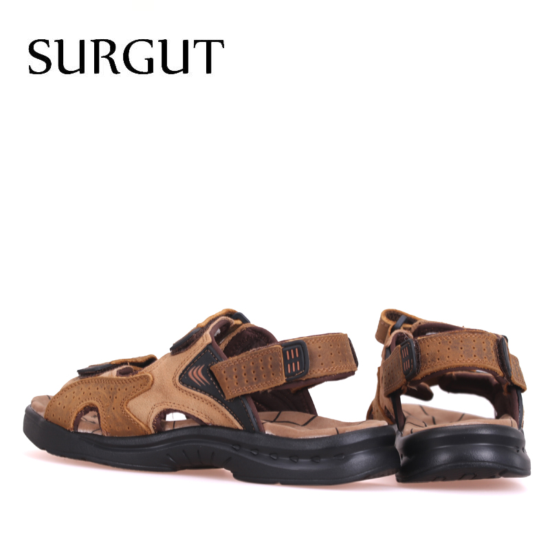Image 2 - SURGUT Fashion Casual Men Beach Sandals Handmade Genuine Leather Summer Shoes Retro Sewing Classics Men Footwear Zapatos Hombrehombre zapatoshombre casualhombre shoes -