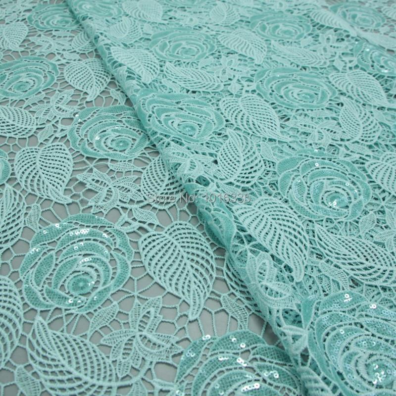 120 cm širina mint zelena afriška vrvica čipke tkanine guipure - Umetnost, obrt in šivanje - Fotografija 1
