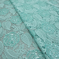 120CM Width Mint Green african cord lace fabric guipure lace fabric Sequins lace fabric for wedding DHL shipping