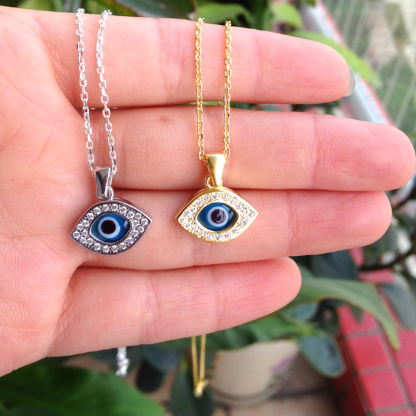 925 sterling silver turkish evil blue eye necklace with cz stones 925 sterling silver turkish evil blue eye necklace with cz stones italy murano glass arabric jewelry nazar woman protector lucky in pendant necklaces from mozeypictures Images