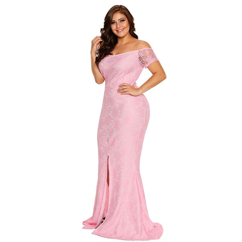 SEBOWEL Plus Size Schulterfrei Spitze Kleid Schlitz Party Kleider - Damenbekleidung - Foto 5