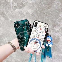 Phone Case for iPhone XS Max 6 6S 7 8 Plus X XR Cartoon Doraemon Doll Wristband Back Cover Blue Light Protector Cases Funda