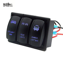 3 Gang Rocker Switch Panel Circuit LED Light Waterproof For RV Car Marine Boat