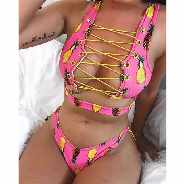 African Style Pineapple Bikini For Big Boob Women Lace Up Swimwear Thong Bikini Set Two Pieces