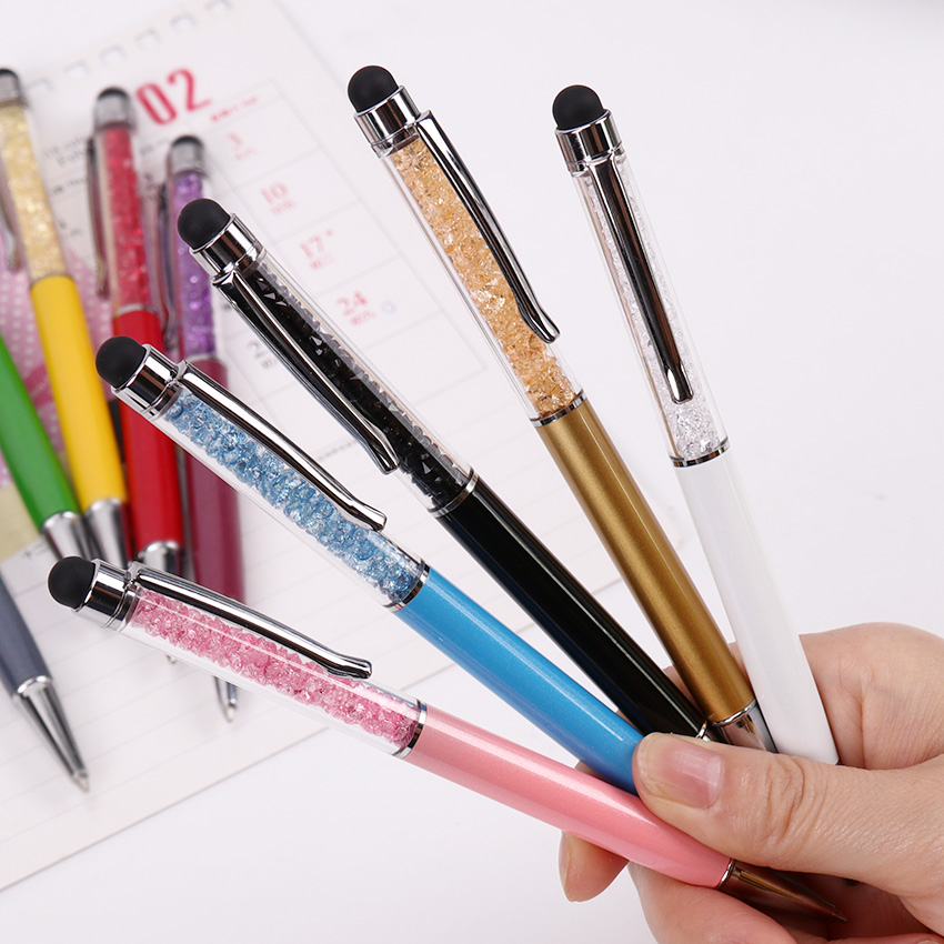 1PC Metallic Crystal Pen Office Stationery School Supplies Pen Handwriting Capacitance Diamond Pencil Touch Screen Ballpoint Pen