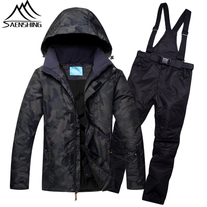 New Ski Suit for Men 2017 Camouflage Snowboard Suit Winter Outdoor Waterproof Warm Ski Suits Male Skiing Snowboarding Suits 3XL men ski brand snowboard costume skiing suit sets waterproof
