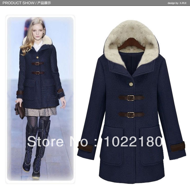 women coats winter fashion 2013 woman Thickening Hooded Wool Pea ...