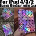 Para ipad 4/3/2 brillo de diamante de moda de lujo de cuero elegante case stand case para ipad4 n °: i402