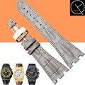 Натуральная Кожа Watchstrap 28 мм Мужская Черный Браслет Для Audemars Piguet Часы Ремешок ROYAL OAK Нержавеющая Сталь Раскладывающейся застежкой