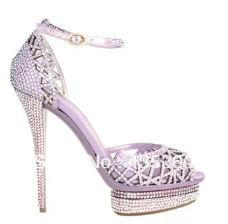 Limited Edition Le Silla Purple Crystals Platform High Heels Women Ankle  Strap Sandals Summer Sandals 13cm heels-in Women s Sandals from Shoes on ... 506985e318