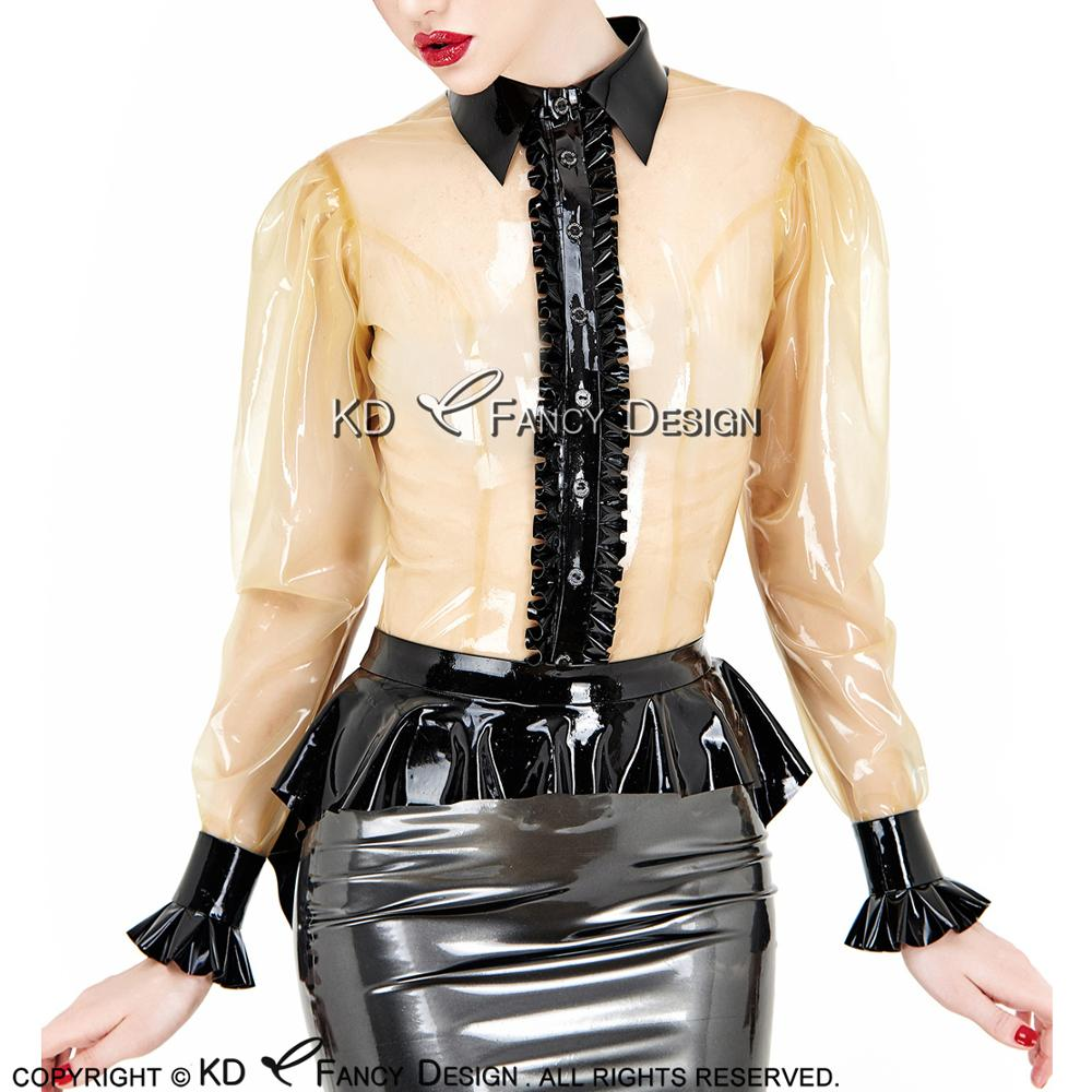 Transparent With Black Ruffles Sexy Latex Blouse With Buttons Front Turn Down Collar Rubber Shirt Top