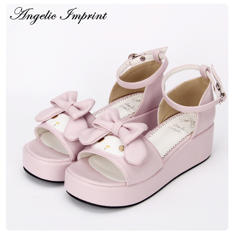 Sweet Pink Princess Girls Cute Rabbit Sandal Shoes Confortable Wedge Lolita Sandals lovely smilling kitty face faux wooden wedge lolita shoes ankle strap sweet pink girls shoes