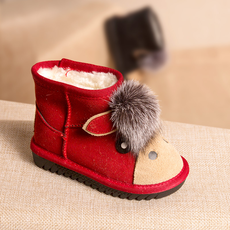 Phynier Girls snow boots 2017 winter new childrens cotton boots shoes plus velvet low boots boys warm shoes