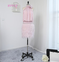 New Arrival Sheath Halter Lavender Long Feather Beaded Chiffon Backless Short Mini Women Party Short Cocktail
