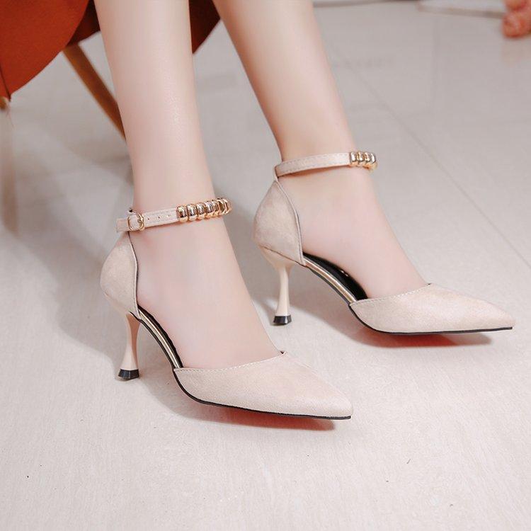 Haut Pompes Chaussures rose Sauvage Clubs De Boucle 2019 Pointu Dames Nuit Sandales D'été Simple À rouge noir Talon Femmes Beige YxpC4ndqpw