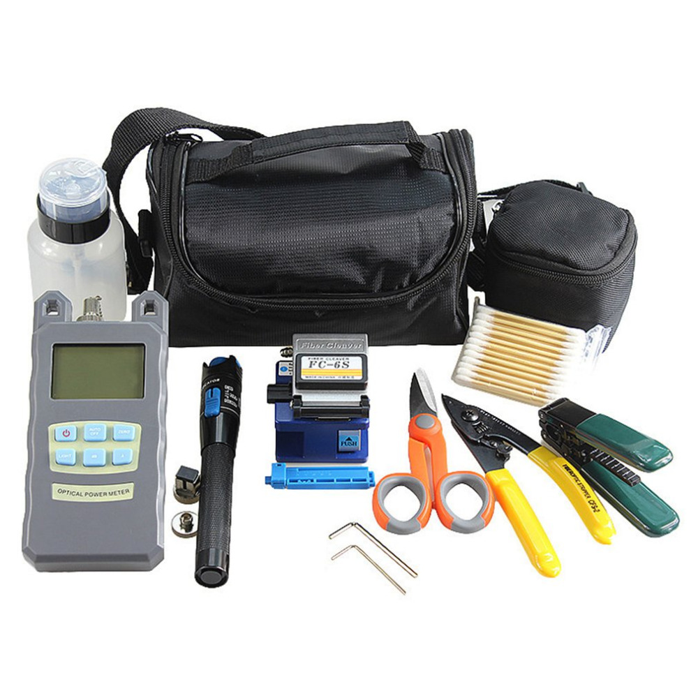 Practical Fiber Optic Tool Kit Fiber Cleaver Optical Power Meter 1MW Tester Visual Fault Locator Fiber Stripper Scissors mt 7601 fiber optic power meter laser fiber optic tester optical fiber power meter automatic identification frequency