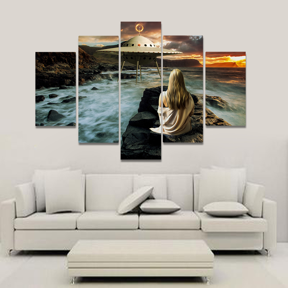 Unframed Canvas Painting UFO Sea Spray The Girl On The Reef Picture Prints Wall Picture For Living Room Wall Art Decoration