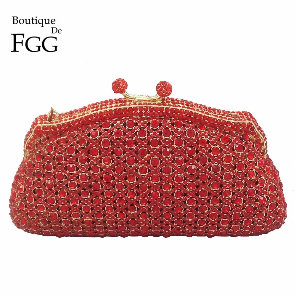 Red Ruby Crystal Minaudiere Box Clutch Handbag Women Evening Bags Ladies Metal Hardcase Wedding Party Bag Diamond Clutches Purse