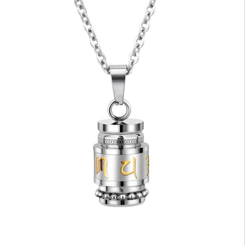 Prayer Wheel Stainless Steel Necklace 3