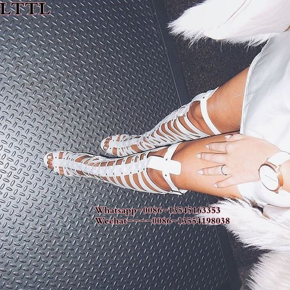 HOT!!2018 red white Women Sexy cut outs Spike Over the Knee Gladiator Boots Rivet Strap Cross High heel Sandal Boots Shoes Women 2017 summer newest hot sexy women narrow band high boots cut outs gladiator over the knee booty club boots women shoes