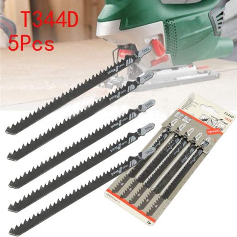 5pcs Set 6 T T-Shank Jigsaw Blades For Wood Plastics Cutting Fast Cutting Tools T344D 6 TPI Saw Blade 4mm