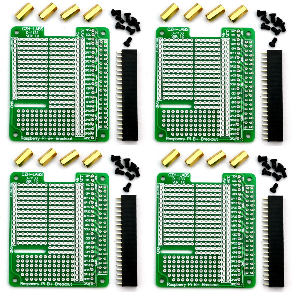 Electronics-Salon 4x Prototype Breakout PCB Shield Board Kit for Raspberry Pi 3 2 B+ A+, ...