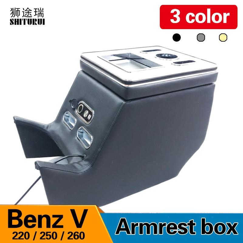 Для Mercedes Benz V Class V220 V260 V250 подлокотник коробка для хранения сзади перила коробка мобильного телефона зарядки USB держать руки стакана воды
