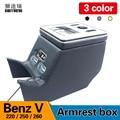 Para Mercedes-Benz V-clase V220 V260 V250 W447 caja de almacenamiento del reposabrazos de la caja de carga del teléfono móvil toma de agua con USB