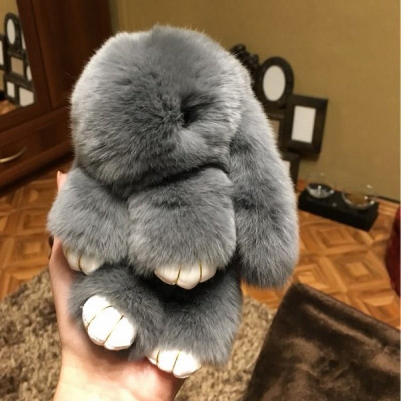 Fluffy Real Dovşan Kürk Pompon Bunny AnahtarlıkTrinket Qadın - Moda zərgərlik - Fotoqrafiya 5